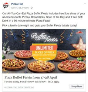 april special from pizza hut buffet fiesta all you can