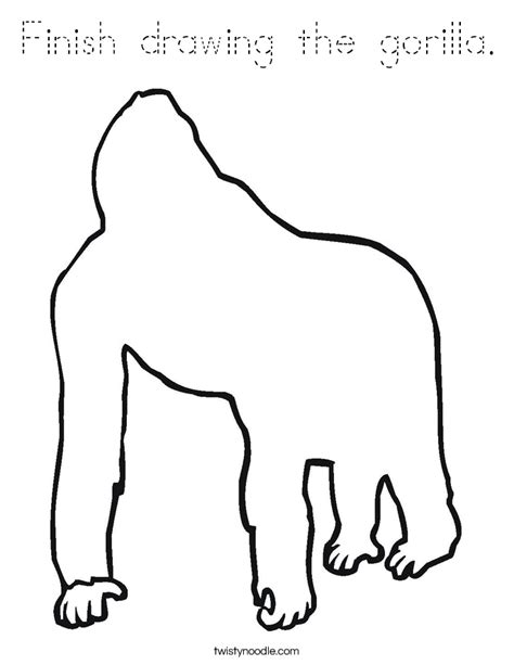 gorilla outline coloring page finish drawing the gorilla coloring page tracing