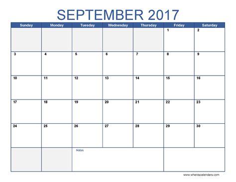 Calendar 2017 September Printable Free September 2017 Calendar Template Calendar Printable Free