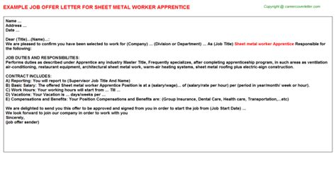 appointment letter format for apprentice apprentice offer letters