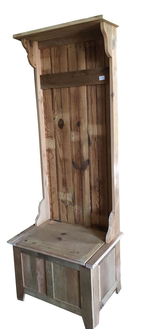 wooden hall tree storage bench eco friendly reclaimed barnwood hall tree