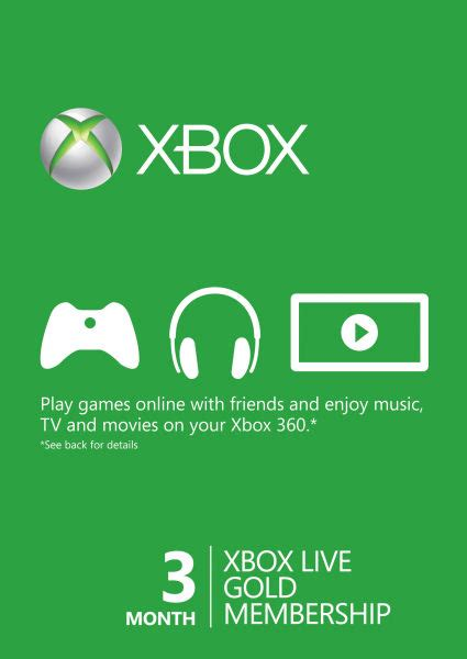 xbox live 3 month gold membership card accessories