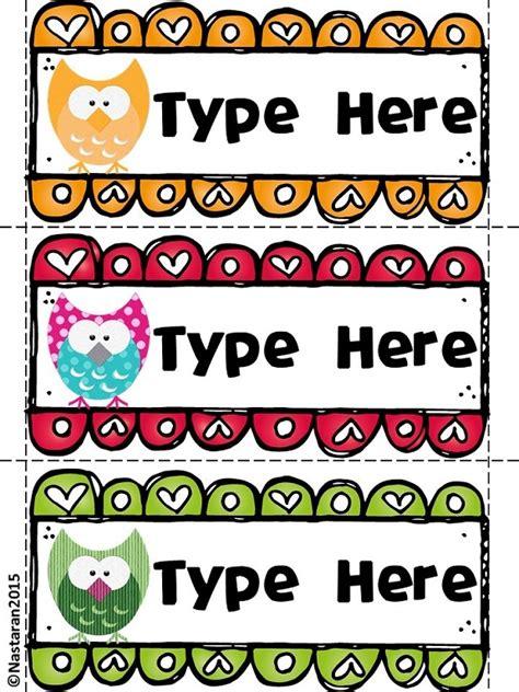 printable owl desk tags editable owl themed desk name tags gt nastaran s resources