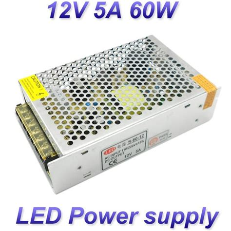 Power Supplay Jaring 12v 5a 12v 5a 60w switching led power supply 100 120v 200 240v ac input 12v dc output for led strips