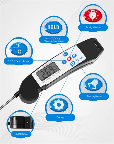 Digital Food Thermometer For Kitchen Cooking Bbq Tp600 ebluejay kcasa kc tp600 foldable instant read digital