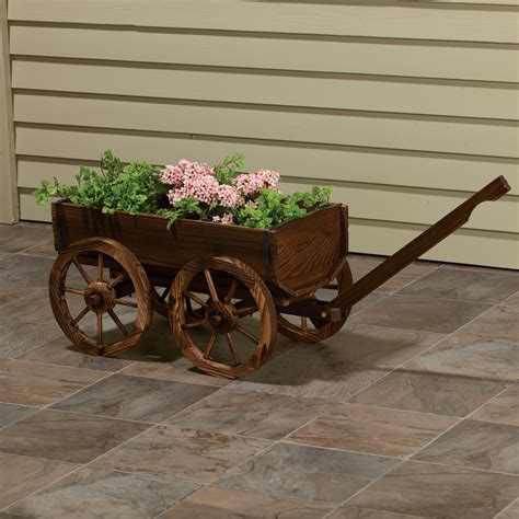 stonegate designs wooden wagon planter model xl103 lawn ornaments planters fountains