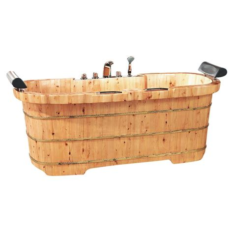 alfi wooden bathtub alfi brand 65 in wood flatbottom bathtub in natural wood
