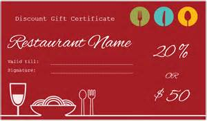Restaurant Gift Certificate Template Free by Restaurant Gift Certificate Template For Discount