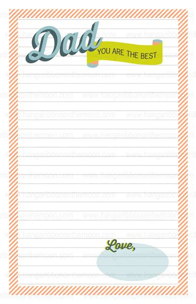 Printable Father S Day Stationery   dad you are the best father s day stationery hang a