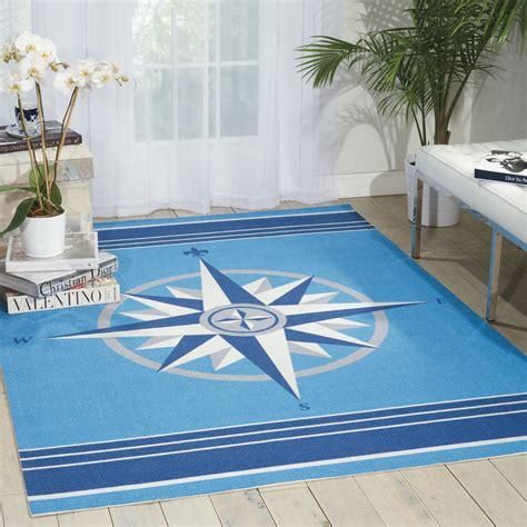 10x13 Nautical Compass Coastal Blue Indoor Outdoor Area 10x13 Outdoor Rug