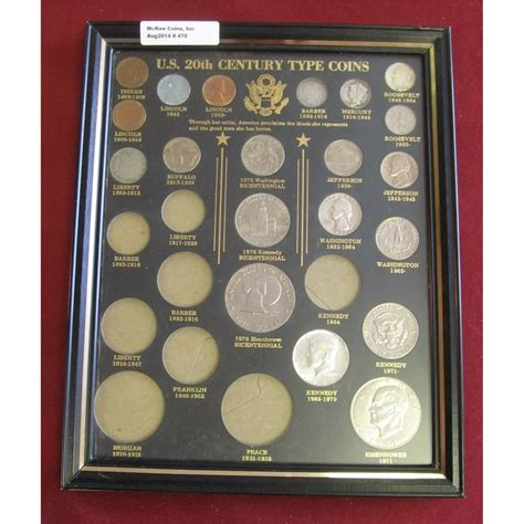 20th Century Coins Framed by 470 U S 20th Century Type Coin Glass Frame With Partial