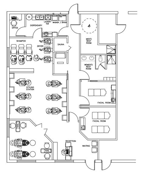 Hair Salon Floor Plans by Salon Floor Plan Design Layout 1700 Square Foot