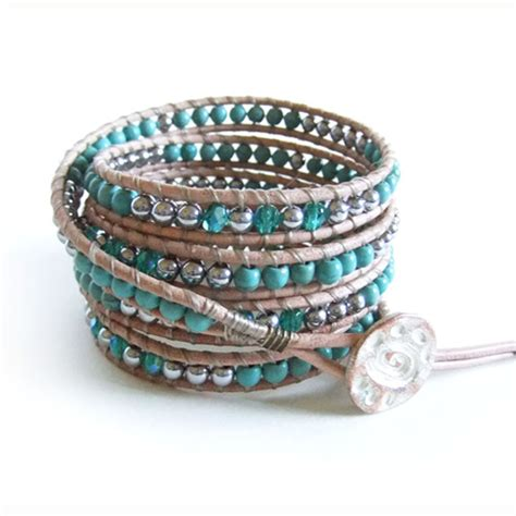 Handmade Wrap Bracelets - turquoise gemstone beaded leather wrap bracelet handmade 5