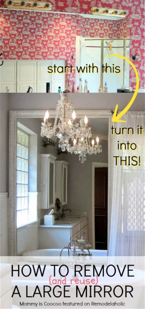 how to remove mirror in bathroom remodelaholic how to remove and reuse a large builder