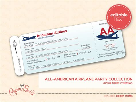 Best Airline Ticket Invitation Template Sample with