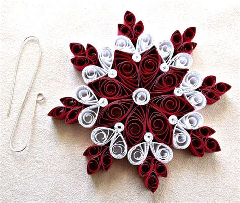 Handmade Paper Snowflakes - handmade paper quilled snowflake ornament
