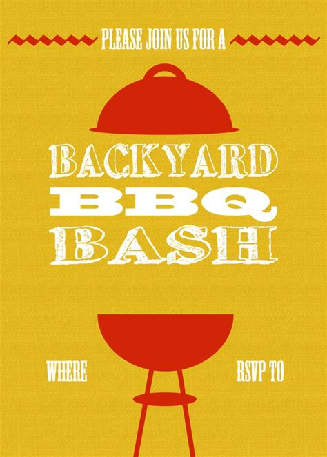bbq invitation templates diy printable backyard bbq bash invite