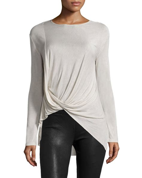 drape top halston long sleeve drape front top in white lyst