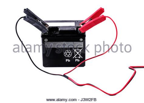 battery charger positive car negative black jump lead and cl stock photo