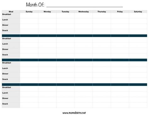 search results for monthly dinner menu planner template