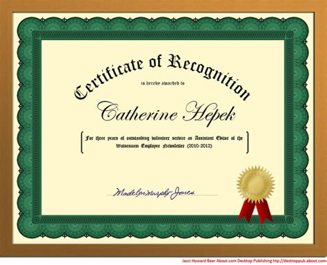 create a certificate template create a certificate of recognition in word words seals