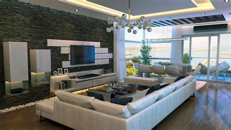 modern livingroom design modern stone feature wall living room interior design ideas