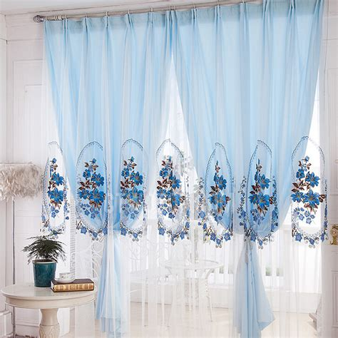 sheer blue curtains 10 fresh sheer curtains with embroidered flowers kinjenk