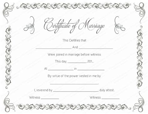printable marriage certificate template printable marriage certificate templates 10 editable
