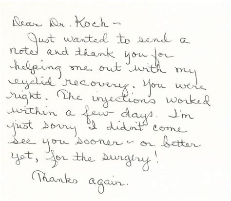 thank you letter to my eye doctor des moines iowa plastic surgery testimonials