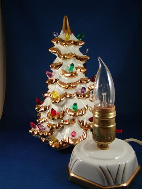 1961 white ceramic christmas tree gold trim multi lights