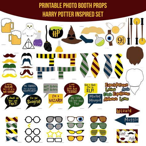 printable harry potter photo booth props instant download harry potter inspired printable photo