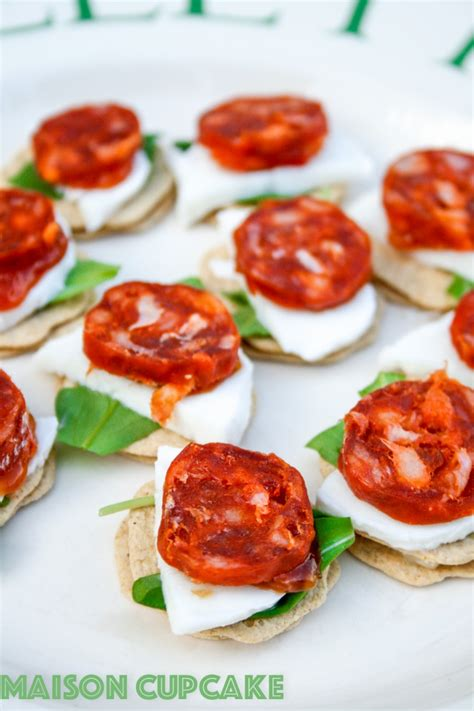 traditional canapes chorizo canapes recipe with mozzarella and rocket