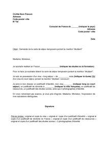 Lettre De Motivation Demande Visa Etudiant exemple gratuit de lettre demande une carte s 233 jour temporaire mention 233 tudiant
