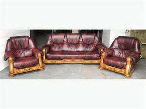 Wood And Leather Sofa 163 2500 Chesterfield Ox Blood Leather Wood 3pc Sofa Set We Deliver Uk Wide Smethwick Sandwell