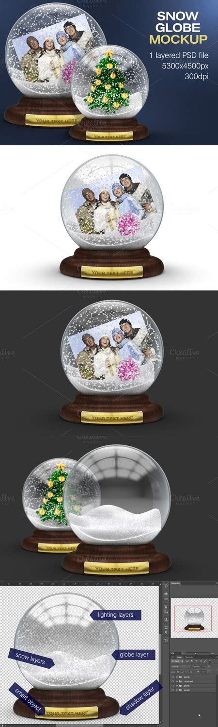 snow globe templates for photoshop creativemarket snow globe mockup avaxhome