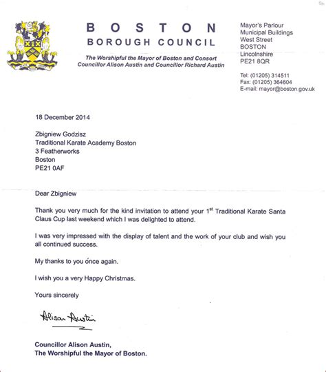 Thank You Letter Regards Thank You Letter From The Mayor Of Boston 21 12 2014 Traditional Karate Academies Boston