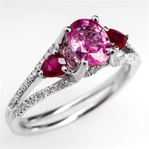 Pink Sapphire Engagement Rings by Pink Sapphire Ruby Engagement Ring 18k White Gold