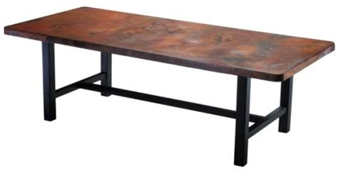 copper top dining table with wood base dining tables rustic dining tables barnwood dining tables