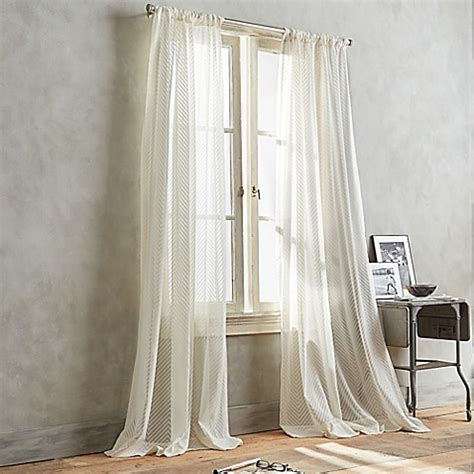 dkny curtains dkny modern lines sheer window curtain panel in ivory