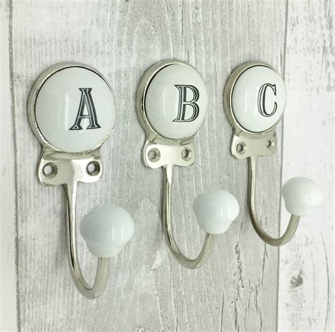 Wall Hooks Letters Ceramic Alphabet Or Number Letter Wall Coat Rack Hook By G