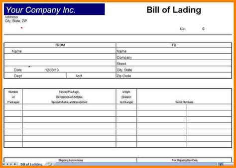 4 blank bill of lading short form template simple bill