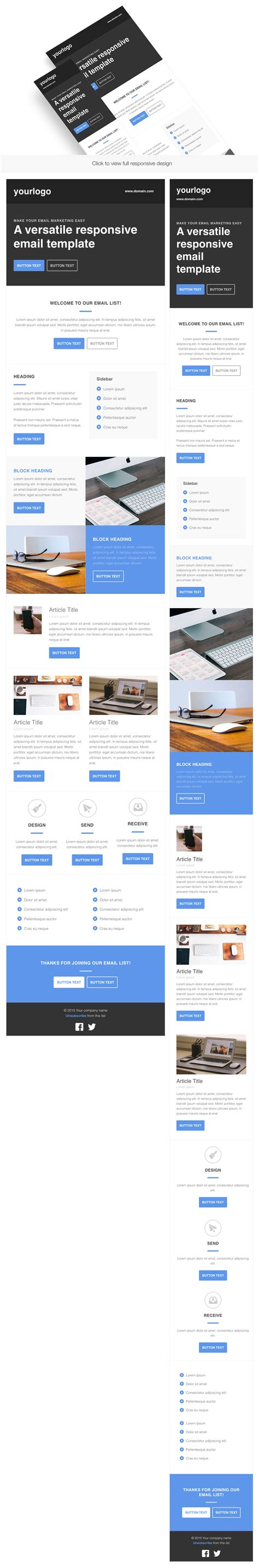 Responsive Html Email Template Email Templates On Creative Market Responsive Html Email Template
