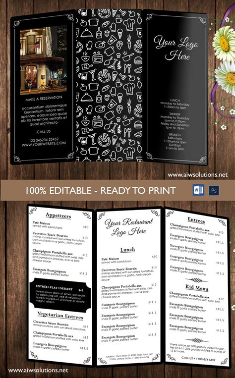 trifold menu template design templates menu templates wedding menu food