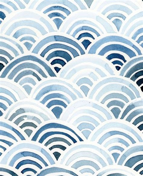 watercolor geo pattern print waves in indigo yao cheng design 201 aquarela