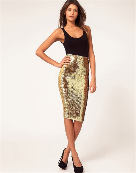 asos asos pencil skirt in sequins at asos