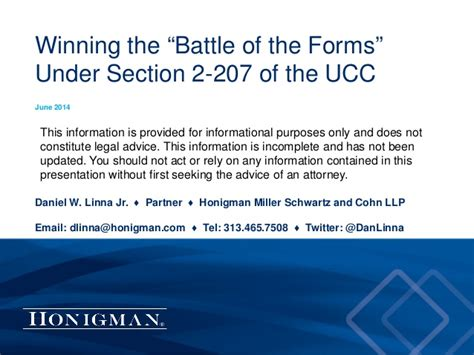 Winning The Battle Of The Forms Under Ucc Section 2 207
