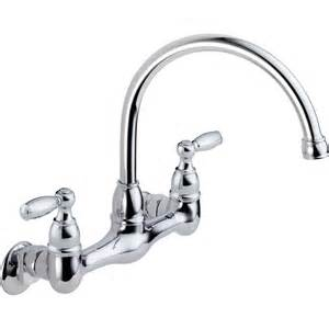 Wall Mount Kitchen Faucet Lowes Shop Peerless Chrome 2 Handle High Arc Wall Mount Kitchen Faucet At Lowes