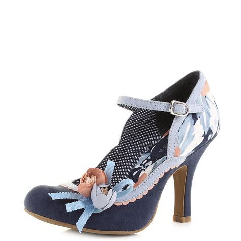 womens ruby shoo navy pale blue floral flower high