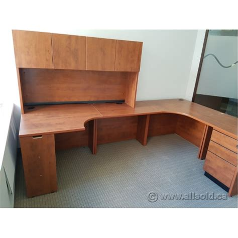L Shaped Desk With Storage Autumn Maple L Shaped Desk With Storage Hutch Allsold Ca Buy Sell Used Office Furniture