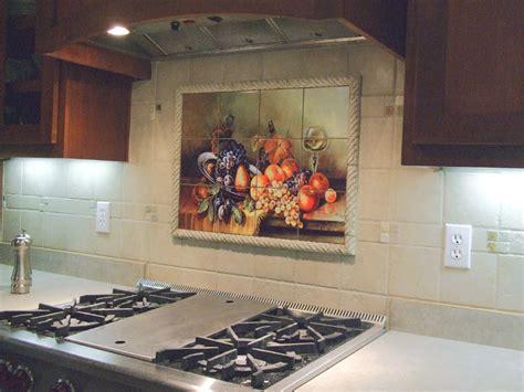 Exles Of Kitchen Backsplashes Kitchen Tile Murals   backsplash tile fruit art home design exles